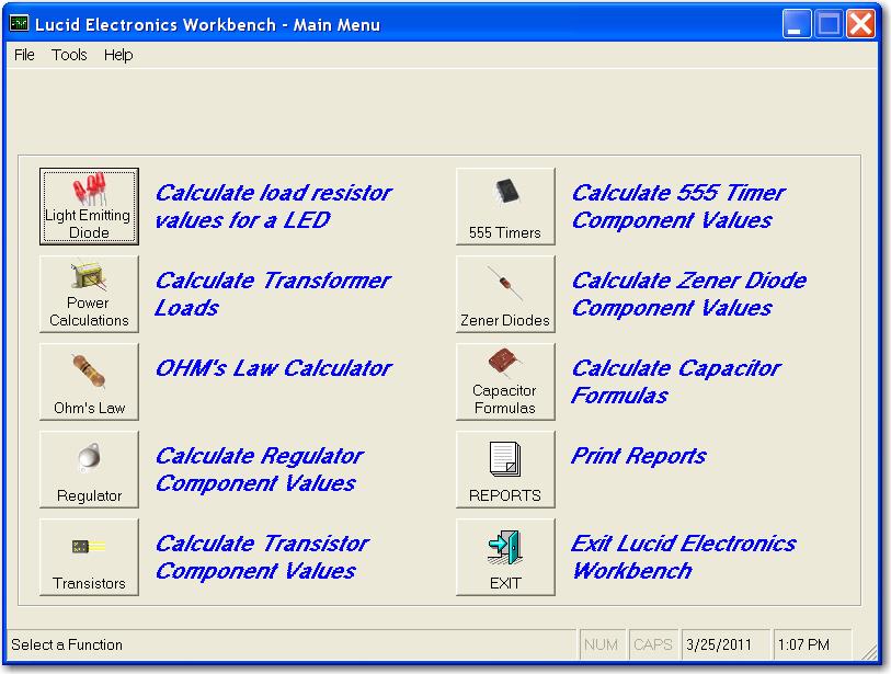 Full Lucid Electronics Workbench screenshot